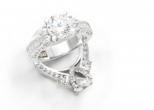 Two white gold engagement rings