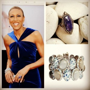 Robin Roberts at the Oscars with a close up of the ring and bracelet she wore