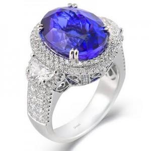 Simon G. white gold sapphire engagement ring