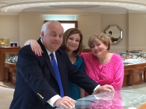 Owners Roman Shor, Lucy Zimmerman, and Sophie Shor in Roman Jewelers