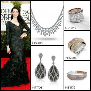 Laura Prepon's Simon G. jewelery that she wore to the Golden Globes