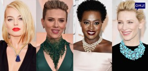 Various celebrities at the Oscars wearing statement necklaces