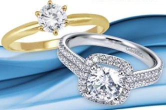 White gold and yellow gold engagement rings