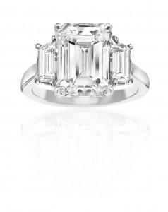 White gold, square diamond engagement ring