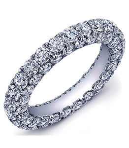 Diamond studded wedding band