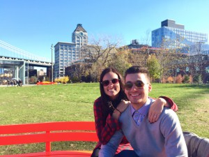 Mike and Laura in a park