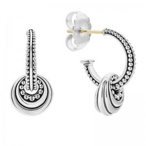 S/S Sig Cav Fluted Disc On Beaded Hoop Charm Earrings
