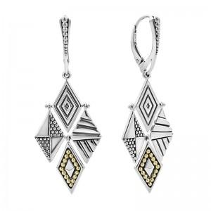 S/S Sig Cav 4 Multi Texture Diamond Dangle Lvrbk Earrings