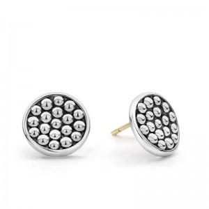 S/S Bold Caviar 13Mm Button Stud Earrings