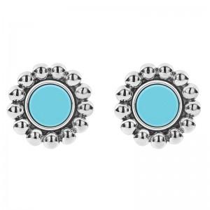 S/S Maya Blue Ceramic 12Mm Crcl Stud Earrings