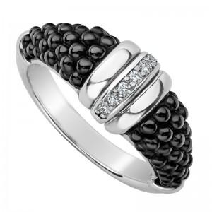 S/S Black Caviar Black Ceramic Dia 1 Row Tapered Ring Size 7