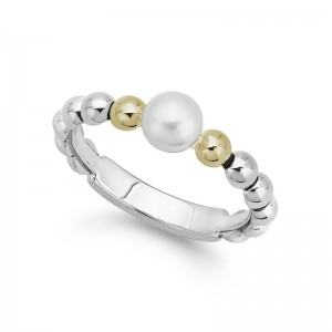 S/S 18K Luna Pearl 5Mm Pearl 4Mm Stack Ring Sz 7