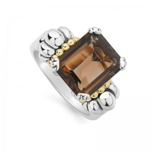 S/S & 18K Yg Glacier Smokey Quartz 12X10 Gemstone Ring