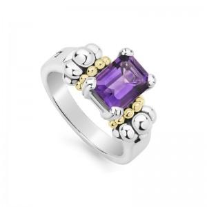 S/S & 18K Yg Glacier Amethyst 9X7 Gemstone Ring