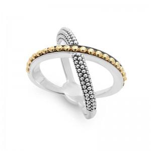 S/S 18K Ksl X 1 Row Gold Beading Ring Sz 7