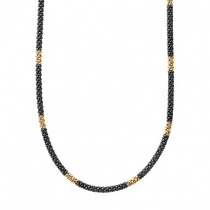 Gold and Black Caviar Beaded Necklace