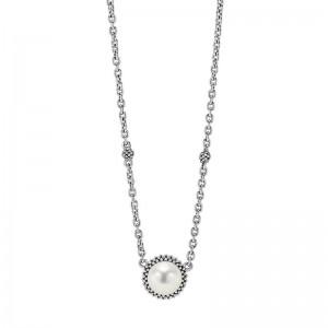 S/S Luna Pearl 8Mm Pendant On Necklace 16-18In Adj