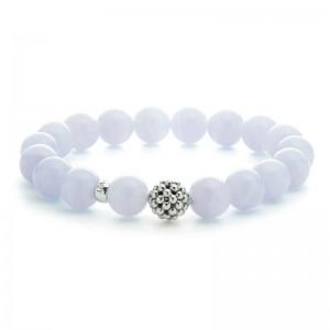 S/S Maya 10Mm Blue Lace Agate Bead W/ Caviar Bead Bracelet