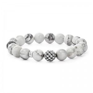 S/S Maya 10Mm Ball Bead Bracelet With 17 Howlite Beads Size M