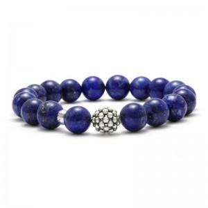 S/S Maya Beaded Caviar Ball Bracelet 10Mm Bead With 18 Lapis Beads Size M