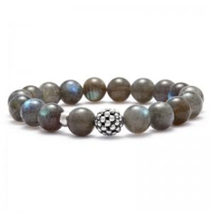 S/S Maya 10Mm Caviar Ball Bracelet With 18 Labradorite Beads
