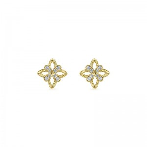 14K Floral Diamond Stud Earrings
