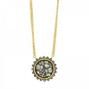 Gilded Cable Pebble Stone Disc Necklace