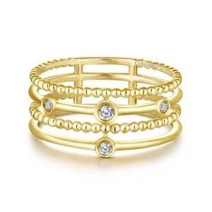 14K Yellow Gold Bezel Set Diamond Station Layered Ring