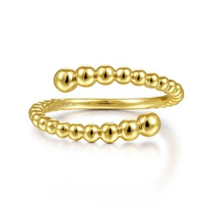 14K Yellow Gold Bujukan Bead Bypass Ring