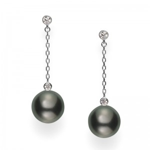 Mikimoto White Gold Black South Sea Pearl Earrings 10Mm A+ With 4 Round Diamonds .18Cts G Vs2