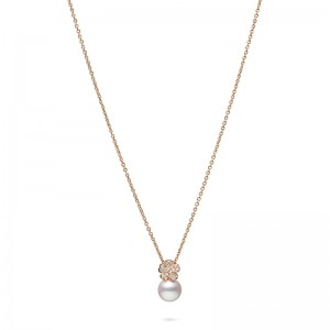 MIkimoto Cherry Blossom Akoya Pearl  Diamond Earrings