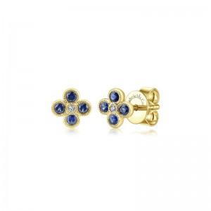 14K Yellow Gold Diamond & Sapphire Stud Earrings