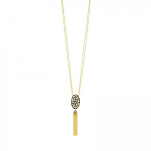 Rose D'or Rosecut Tassel Pendant Necklace