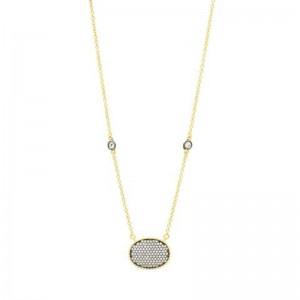 Signature Pave Oval Disc Pendant Necklace