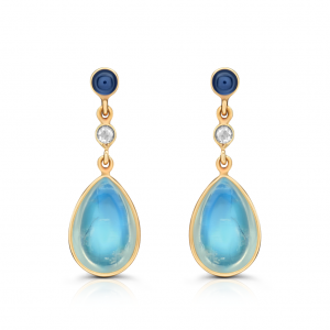 18 K Yellow Gold Flora Earrings Blue Sapphire, Moonstone and Diamond