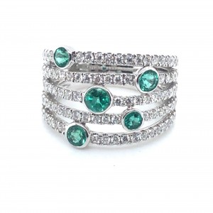 14K White Gold Diamond and Emerald Fashion Ring