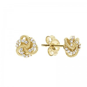 18K Yg Diamond Love Knot 7Mm Stud Earrings