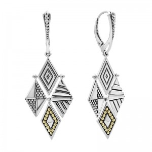 S/S Sig Cav 4 Multi Texture Diamond Dangle Lvrbk Earrings