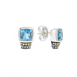 Caviar Color Blue Topaz Stud Earrings