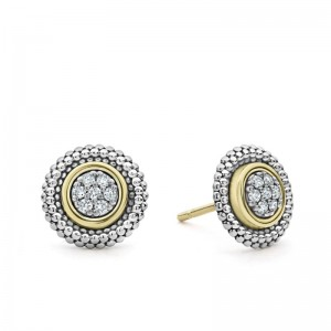 18K Yg & Ss Signature Caviar Diamond Round Pave Stud Earrings