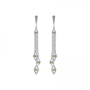 S/S 18K Ksl Tri Pyramid Tassel Leverback Earrings
