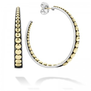 S/S 18K Signature Caviar Tapered 50Mm Hoop Earrings
