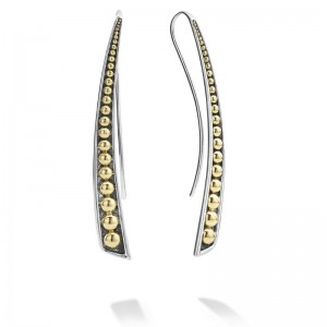 S/S 18K Signature Caviar Linear Curve Wire Earring