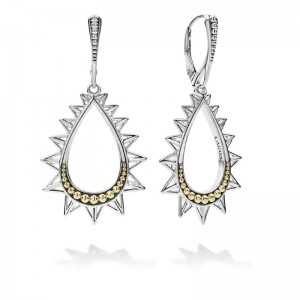 S/S 18K Ksl Spiked Pear Drop Earrings