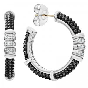 S/S Black Caviar Blk Ceramic Dia 3 Row 30Mm Hoop Earr