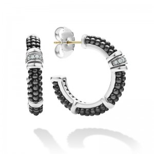 S/S Black Caviar Blk Ceramic Diamond 1 Row 23Mm Hoop Earring