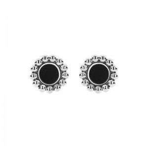 S/S Maya Onyx Inlay 12Mm Crcl Stud Earr