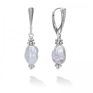 S/S Luna Pearl Keshi Long Drop Leverback Earrings