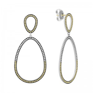 S/S 18K Sig Cav Dbl Ovoid Shape Post W Drp Earrings