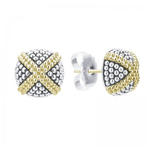 S/S 18K Sig Cav 12Mm Caviar Domed Lrg X Stud Earrings